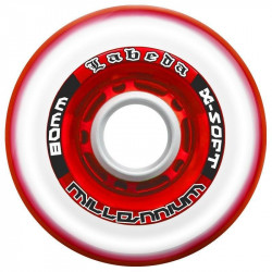 Kolečko LABEDA Gripper Millennium X-Soft 74A Roller Hockey Wheel - Clear/Red